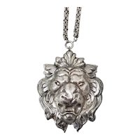 Molded Metal Lions Head Pendant on Nice Chain