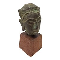15th to 16th Century Thai Miniature Bronze Head on Stand
