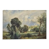 Country Landscape with Figures and Cattle by F.T. Purvos c.1928