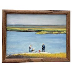 Fly Fishing Near the Madison Junction Original Oil Painting c.1987
