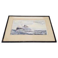 """Bernard Lachevre (France, 1885-1950) Original """"Steamship"""" Watercolor Painting c.1930"""