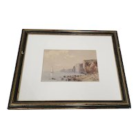 Early 20th Century Watercolor Coastal Landscape w/ High Cliffs by W. Degraff