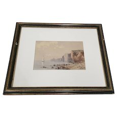 Late 19th Century Watercolor Coastal Landscape w/ High Cliffs