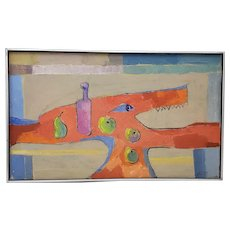 Mid Century Abstract Still Life Oil Painting by Francisco Ferro c.1960