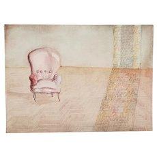 """""""The Reading Chair"""" Original Vintage Watercolor by Laura Salgado c. 1984"""