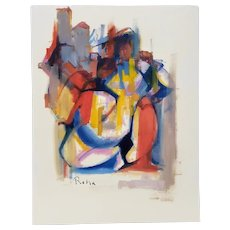 Two Abstract Figures Original Acrylic Painting on Paper by Roha