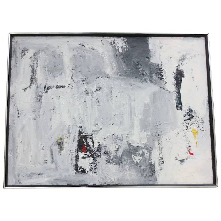 Vintage Black White Abstract Oil Painting