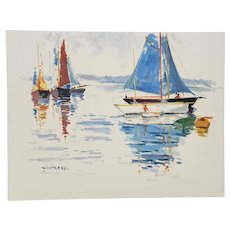 """Sailboats' Original Acrylic Painting on Paper by Younessi"