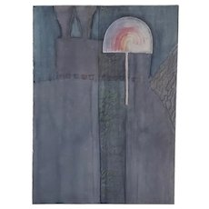 Abstract In Gray Original Watercolor by Laura Salgado c.1985