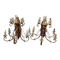 Matching Pair of Large Gothic Hollywood Regency Chandeliers c.1940s