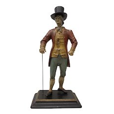 19th Century Hand Painted Spelter Sculpture of a Man w/ Cane & Top Hat