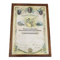 Panama-Pacific International Exposition Memorial Certificate c.1915