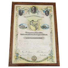 Panama-Pacific International Exposition Memorial Certificate c.1915