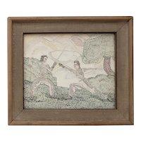 "Art Deco Pointillism ""Fencing"" Original Oil on Paper c.1940s"