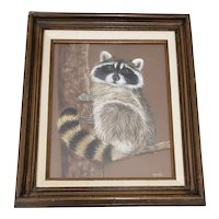 "Geri Madden ""Friendly Raccoon"" Original Pastel on Paper c.1980s"