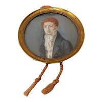 Fine 19th Century Portrait Miniature of a Young Man with Red Hair