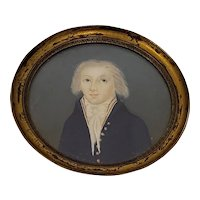 Mid 19th Century Portrait Miniature of a Young Man with White Hair