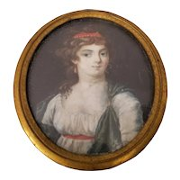 Mid 19th Century Portrait Miniature of a Young Woman