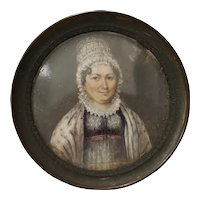 Fine Mid 19th Century Portrait Miniature of a Woman Wearing a Lace Bonnet