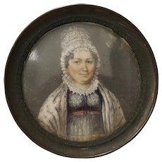 Fine Mid 19th Century Portrait Miniature of a Woman Wearing a Lace Bonnet