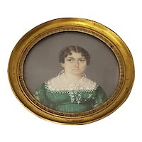 Mid 19th Century Portrait Miniature of a Young Woman Wearing a Green Dress