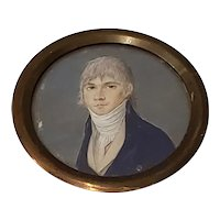19th Century Portrait Miniature of a Young Man Wearing a Cravat