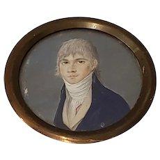 19th Century Portrait Miniature of a Young Man Wearing a Cravat