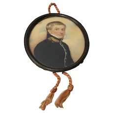 19th Century Portrait Miniature of a Young Military Man