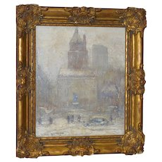 New York City Winter Attributed To Berthelsen Original Oil on Canvas