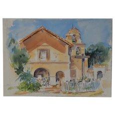 "Emilie Sandoval ""California Mission"" Original Watercolor c.1980"
