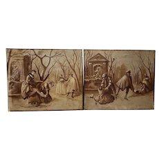 "Pair of Late 19th Century ""Ice Skating"" Original European Oil Paintings c.1890s"