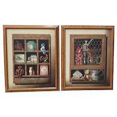 Pair of Americana Folk Art Paintings by Huntington 20th c.