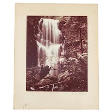 "Vintage Sepia Tone ""Lush Waterfall"" Photograph by Kevin Ward c.1950s"