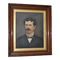 19th Century Oil Portrait of a Mustached Man c.1880