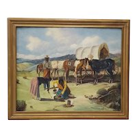 "Vintage American West Oil Painting ""Lunch Time"" by William Metter c.1940s"