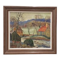 "Fern Coppedge (American, 1883-1951) ""Winter - New Hope"" Original Oil Painting c.1920"