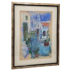 "Vintage Lithograph""White Stucco Church"" by Kitty Kristensen"