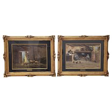 Pair of Early 20th Century Oil Paintings by Mario Fattori c.1920s