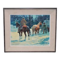 "Gary Carter ""Elk Camp at Hillguard"" Original Oil Painting c.1972"