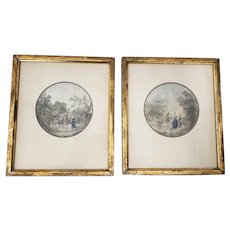 Pair of 18th Century Romanticism Watercolor Paintings