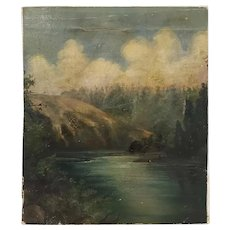 19th Century Hudson River School River Landscape Oil Painting