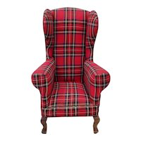 Custom Made Miniature Doll / Bear Wingback Chair