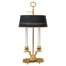 Early 20th Century French Bouillotte Gilt Bronze & Tole Table Lamp
