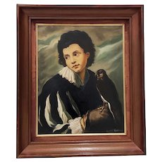 "Vintage Oil Painting ""Young Man with Falcon"" by Ernest Kroeker c.1970s"