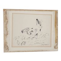 "Andre Dunoyer de Segonzac (French, 1884-1974) Pen & Ink ""Chickens""  c.1930's"