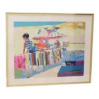 "Nicola Simbari  (1927 - 2012) ""Boy on a Beach Towel"" Original Serigraph c.1970s"