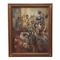 Raymond Thialier (France, b.1913) Still Life w/ Figures Original Oil Painting c.1969