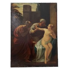 """19th Century Old Master """"Susanna and the Elders"""" After Martinelli"""