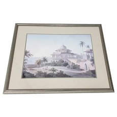 Hand Colored Engraving North African Landscape with Figures and Architecture