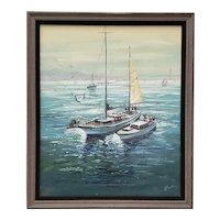 "John Leonard Checkley (1922 - 1991) ""Sailboats on San Francisco Bay"" Original Painting c.1960s"